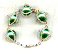 Original Design Crystal Wrapped Green Faux Pearl Bracelet