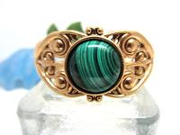 Cuff Bracelet Malachite Cabochon set in Bronze