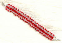 FIRE AND ICE: Swarovski Crystals Bright Red Cube Ribbon Bracelet