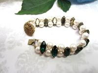 Beaded Bracelet White Pearls Vintage Emerald Crystals