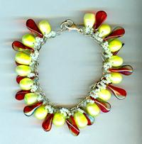 Paradise Charm Bracelet: Peridot Pearls Red Glass and Sterling Silver
