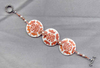 Asian Pattern Chestnut on White Porcelain Disc Bracelet