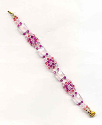 THINK PINK NEEDLEWOVEN BRACELET:  Rose Quartz and Swarovski Crystal