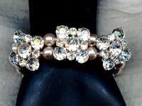 Bracelet Vintage Crystal Buttons and Pink Glass Pearls OOAK