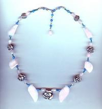 Fantasy Garden Collar Necklace: Sterling Silver and Rose Quartz