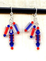 Cobalt and Flame Cane Glass and Swarovski Crystal Dangle Earrings