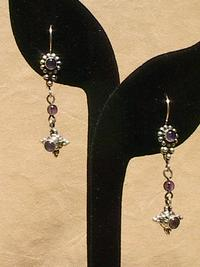 FEBRUARY BIRTHSTONE: Amethyst Gemstone Sterling Silver Linear Earrings