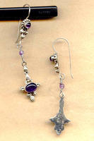 Hand Beaded Longer Amethyst Gemstone Sterling Silver Linear Earrings