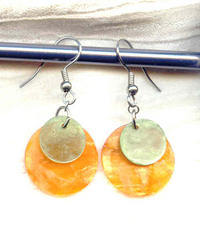 Tangerine and Lime Lightweight Capiz Shell Double Disc Earrings