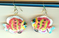 Coral Cloisonne Tropical Fish Earrings