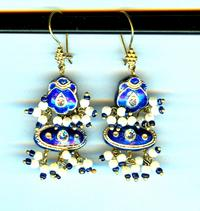 KASHMIR BLUE EARRINGS: Cobalt Blue Enameled Rhinestone Studded Dangles