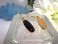 Earrings Dangle Long Oval Blue Goldstone
