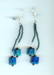 Shimmering Dichroic Glass Cubes Earrings: Long, Blue and Dramatic!