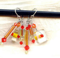 Summer Sizzle Earrings: Sunset Colored Cane Glass and Crystal Beads