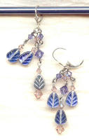 Dangling Tanzanite Glass Leaves Hand Beaded Earrings