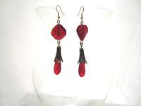Long Red Glass and Old Gold Earrings