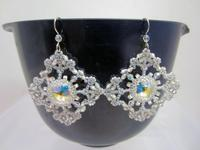 Snowflake Earrings: Lacy Sparkly Delicate and Handmade