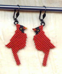 CARDINAL EARRINGS:  Needlewoven Winter Birds