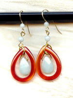 Amazonite and Red Agate Framed Teardrop Earrings