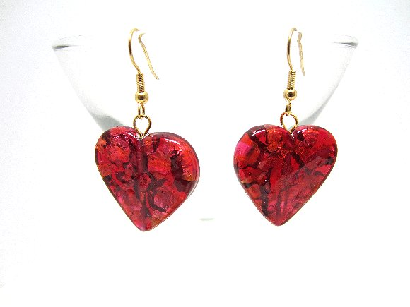 Earrings Red Hearts Dichroic Glass Valentines OOAK