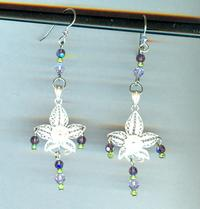 Sterling Silver Filigree and Swarovski Crystal Orchid Earrings