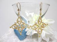 Elegant Bead Work Earrings Gold, Pearls and Swarovski Crystals