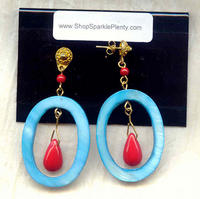 Turquoise Oval Shell Frame and Bright Red Glass Drop Earrings