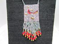 Fringed Bead Woven Long Necklace -- Winter Cardinals