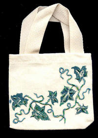 Hand-Beaded and -Painted Grapevine Canvas Cell Phone Tote