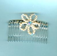 Peach Flower Swarovski Crystal and Glass Pearl Hair Comb