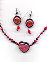 Hearts and Flowers Jewelry Set: Rose Image Glass Polymer Clay and More