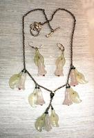 Rose Quartz Lilies and New Jade Leaves Sterling Jewelry Set