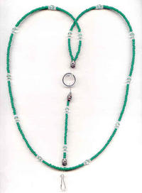 Kelly Green Beaded Unisex Lanyard Necklace, ID Badge Holder, Keyring