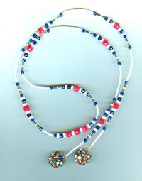 Vintage Red, White and Blue Crystal Lariat Necklace