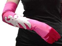 Fuchsia Long Gloves with Iridescent Clear Bead Embroidered Applique