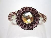 Necklace Bead Work Pendant Crystal Burgundy Champagne OOAK