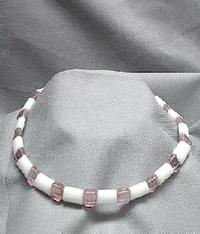 Unique White Onyx and Vintage Light Rose Glass Choker Necklace