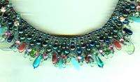 Artisan Designed and Made Green Iris and Rose Collar Necklace