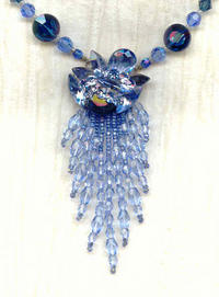 Lady of Mist Fringed Choker Necklace: Vintage Swarovski Blue Crystals