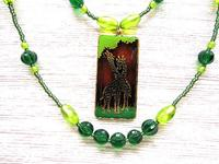 Giraffe Love Pendant 2 Strand Green Beaded Necklace