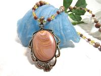 Handmade Beaded Autumn Hickoryite Pendant Necklace