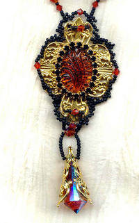 ARTISAN CRAFTED PENDANT NECKLACE: Madeira Topaz, Jet Vintage Crystal