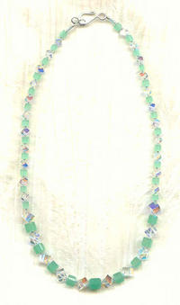 Swarovski Crystal AB and Jade Green Graduated Cube Necklace