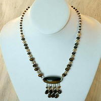 Tigereye and Gold Swarovski Crystal Pearl Fringed Necklace