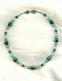 Dark Emerald Lampwork Floral Beads and Pale Pink Crystal Necklace