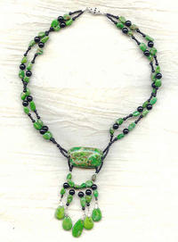 Merlin's Cave Necklace: Green Chalk Turquoise and Black Onyx