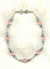 Pale Pink and Silvered Crystal Glass Choker Necklace