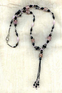 Rose and Jet Crystal and Indian Lampwork Bead Tassel Necklace
