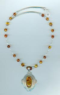 Large Oval Sterling Silver and Cognac Amber Pendant and Beads Necklace