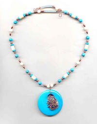 SANTANA: Chalk Turquoise, White Coral and Copper Pendant Necklace